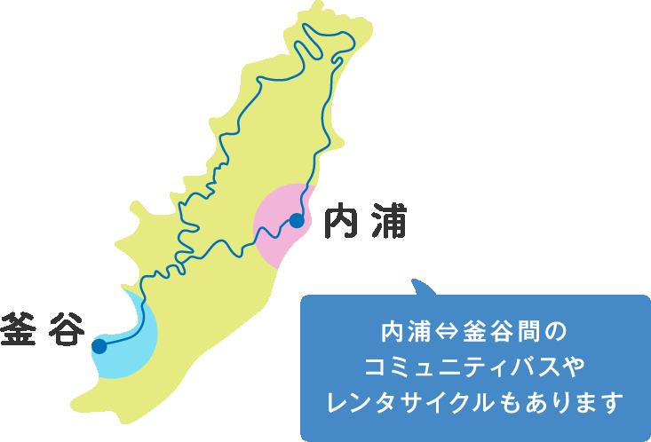 内浦 釜谷 内浦⇔釜谷間の コミュニティバスや レンタサイクルもあります